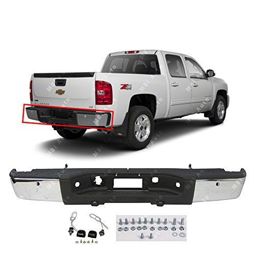 MBI AUTO - Chrome Steel, Rear Bumper Assembly for 2007-2013 Chevy Silverado & GMC Sierra 1500 Pickup, GM1103148:   This is a Brand New - Chrome Steel, Rear Bumper Assembly for 2007-2013 Chevy Silverado & GMC Sierra 1500 Pickup! With Park Assist Sensor Holes.