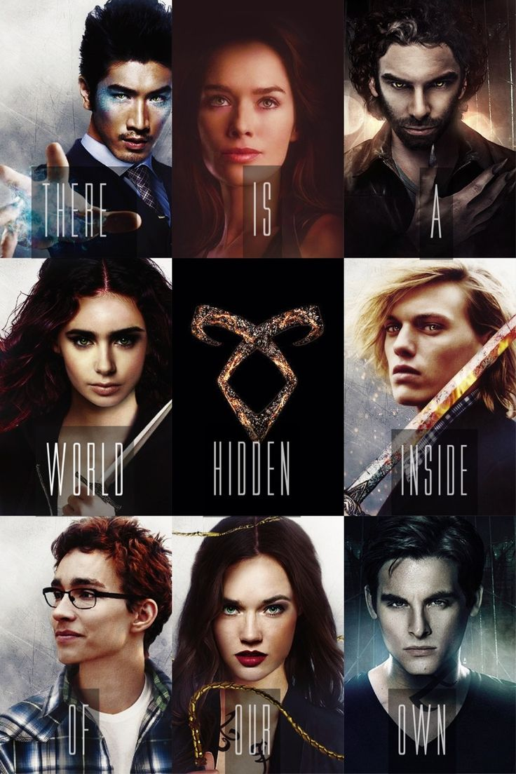 "THE MORTAL INSTRUMENTS: City of Bones by Cassandra Clare| ""There is a world hidden inside of our own."" Magnus Bane (Warlock), Jocelyn Fairchild/Morgenstern (Nephilim), Luke Garroway (Werewolf), Clary Fairchild/Morgenstern (Nephilim), Angelic Rune, Jace Herondale (Nephilim), Simon Lewis (Mundane), Isabelle Lightwood (Nephilim) Alec Lightwood (Nephilim)."