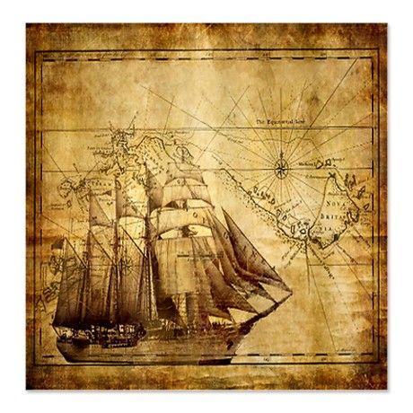 Weathered Pirate Map Shower Curtain by dillardsmugshop