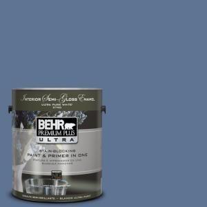 BEHR Premium Plus Ultra 1-gal. #PPU14-18 Laguna Blue Semi-Gloss Enamel Interior Paint-375301 at The Home Depot - Dining Room Accent Wall