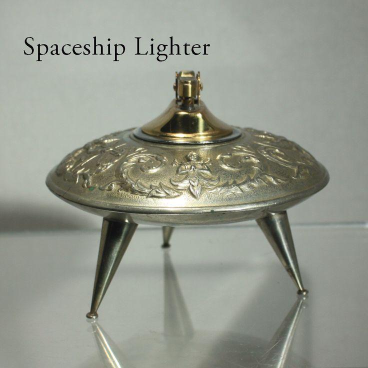Table Lighter, Spaceship, Cigarette Lighter, Retro, Silver