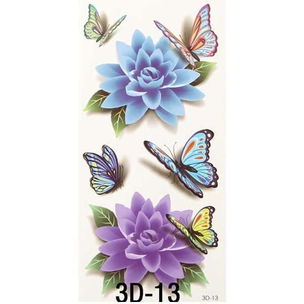 Colorful 3D Butterfly Flower Rose Tattoo Sticker Waterproof Temporary Decal DIY …,  #Butter…