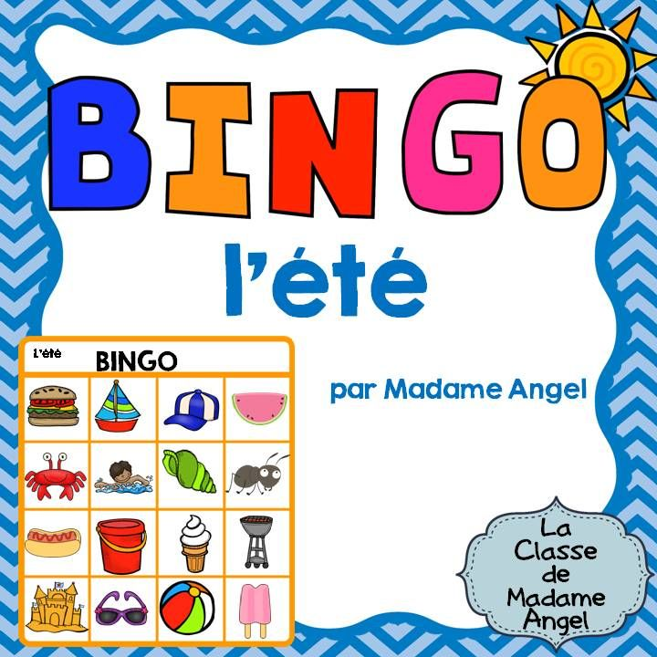 $  C'est l'été!  Summer Themed Bingo Game in French!