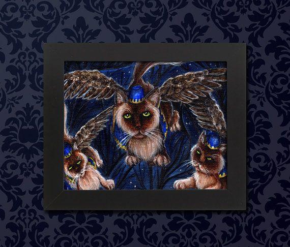 Les chats de singe volant, magicien d'Oz à ailes Art Archiv... chats 5 x 7