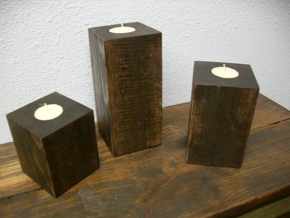 WOOD CANDLE HOLDERS Made From Repurposed 4 by CenterCreekCreations