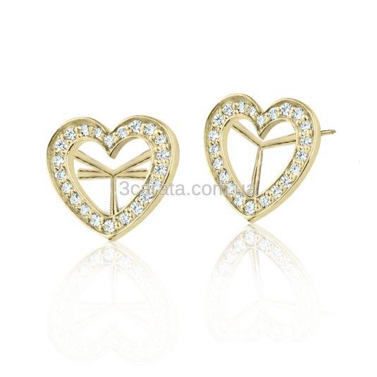 Золотые сережки-пусеты в виде сердечек, инкрустированных белым или цветным цирконием. Цвет камней и металла - по желанию.  Диаметр сережек - 12.5 мм. Золото 585 пробы, средний вес - 3.2 грамма.