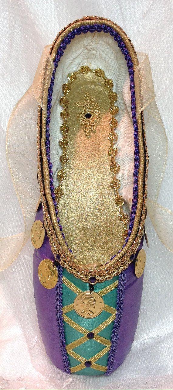 """La Esmeralda"" decorated pointe shoe in purple and green. Ballet keepsake. Teacher Gift."