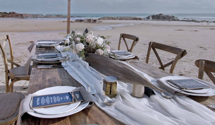 Cross Back Timber Chairs, Rustic Timber Trestle Table for relaxed coastal wedding | bohemian beach wedding | elopement reception | boho beach bride