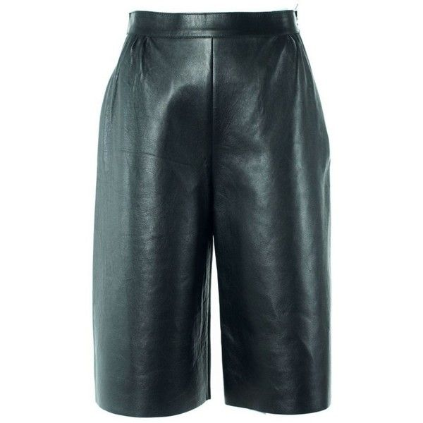 Valentino Women's Brown Leather Wide Leg Culottes (28910 RSD) ❤ liked on Polyvore featuring pants, capris, black, wide leg leather pants, blue wide leg trousers, leather trousers, real leather pants and brown trousers