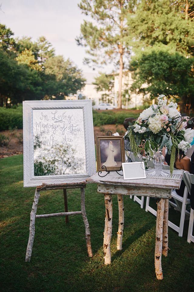 Garden Wedding Entrance Decor With Memorial Piece. Our Custom Designed  Birch Table With A Custom