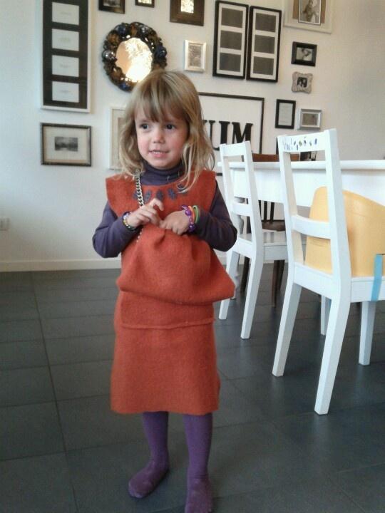 Little pumpkin dress and matching bag