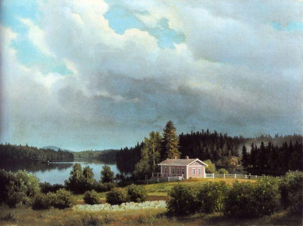 """""""Lugnet"""" Ferdinand von Wright - Ferdinandin ikioma erakkomaja ja ateljee Lugnet-Rauha - Adolf von Wrightin tyttärentyttären Vivi Lindbergin kuvaus: """"Se käsitti tilavan salin,jonka 3 suurta ikkunaa antoi näköalan järvelle,sekä 3 pienemp.kulmahuonetta,eteisen ja keittiön.Sali oli viihtyisä ja kutsuva,kalustettu osittain vanhoilla,osittain taiteilijan itsensä piirtäm.huonekaluilla; näitä peittivät kirkk.punaiset guttaperkkakankaat."""