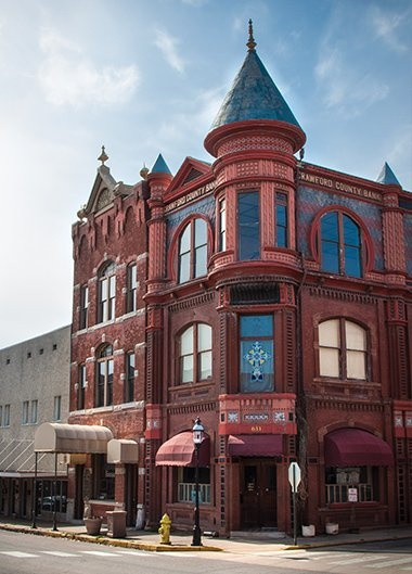 Downtown Van Buren, Arkansas, this building used to be a bank back in the day. Love it.