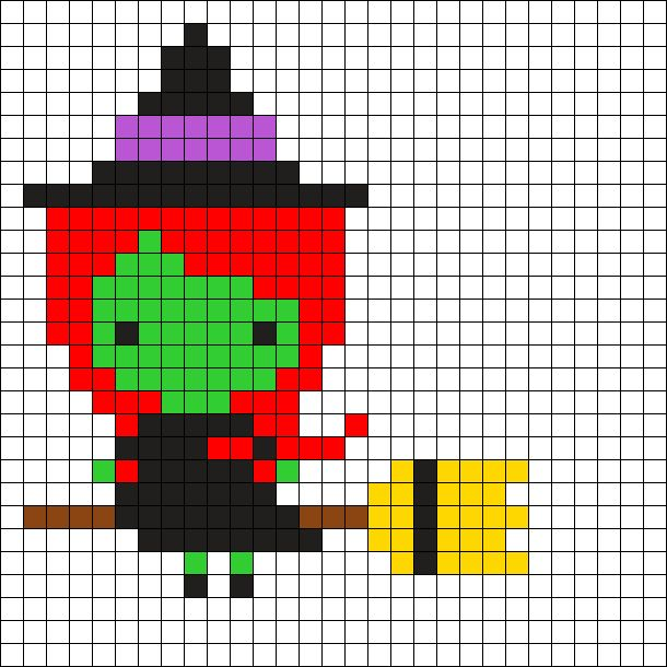 Witch Halloween  Perler Bead Pattern