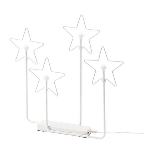 IKEA - STRÅLA, LED 4-stjärnig bordsdekoration, , Ger ett varmt, behagligt sken och sprider helgstämning i ditt hem.Ljuskällan LED förbrukar upp till 85 procent mindre energi och har 20 gånger längre livstid än glödlampor.Du kan ladda dekorationen som vanligt i väggkontakten eller med den medföljande usb-sladden i en dator.