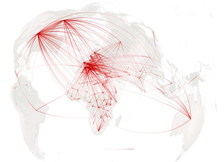 Mapping the migration of millions of people displaced around the world because of violence. Last year alone, about 14 million fled, according to the United Nations.