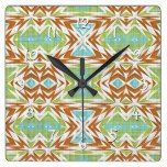 Turquoise Lime Green Burnt Orange Tribal Pattern Square Wall Clock  #Burnt #Clock #Green #Lime #Orange #Pattern #RusticClock #Square #Tribal #Turquoise #Wall The Rustic Clock