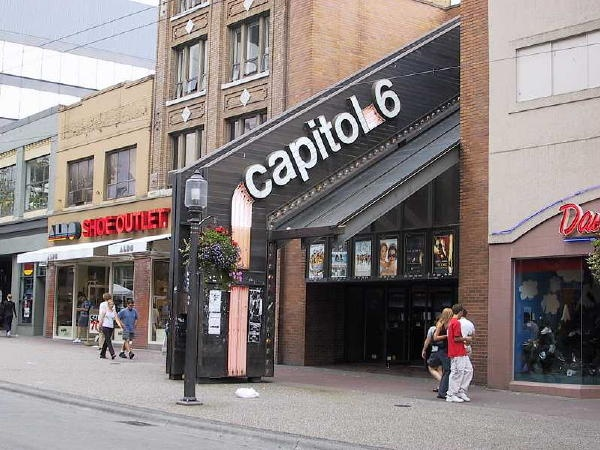 Capitol 6 Theatre....late 90s? earl 2000s? (now replaced with Urban Outfitters)