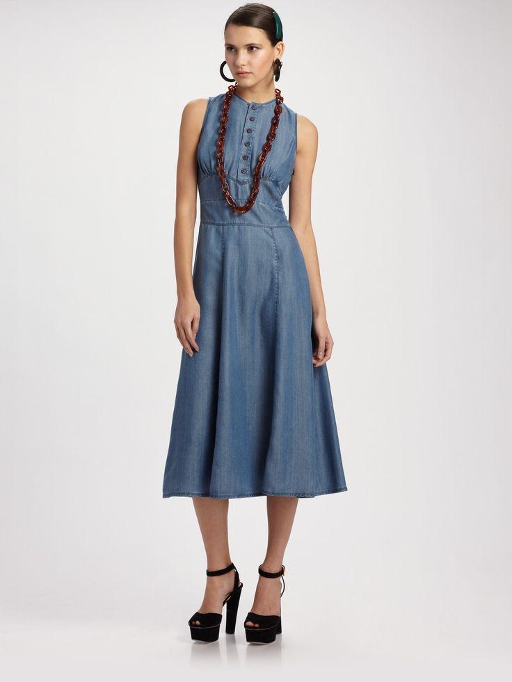 Prada Green Denim Sleeveless Long Dress   Dresscab