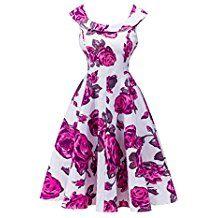 YoungSoul Vestidos de fiesta vintage años 50 para mujer sin mangas retro pinup rockabilly vestido de noche con estampado de flores