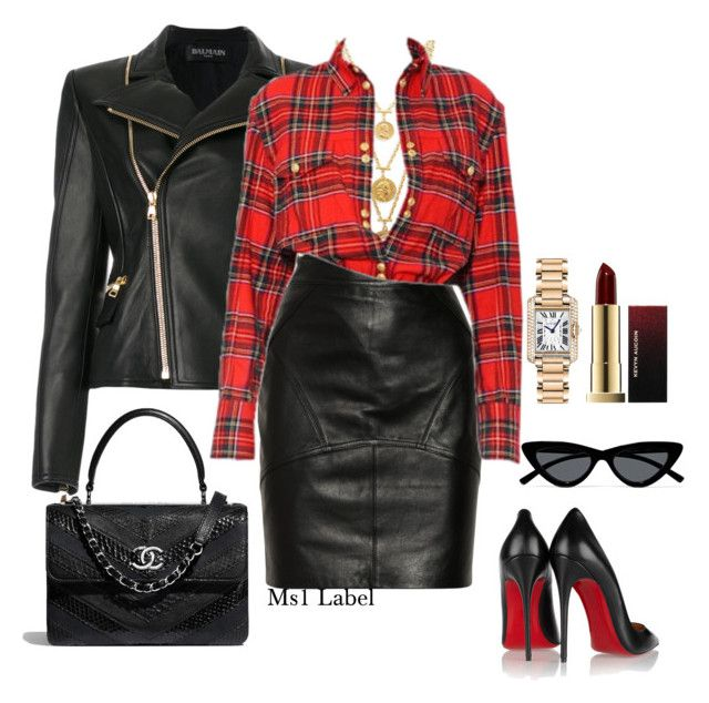 """""""Party"""" by ms1-ltu on Polyvore featuring Balmain, Ben-Amun, T By Alexander Wang, Christian Louboutin, Le Specs, Cartier and Kevyn Aucoin"""