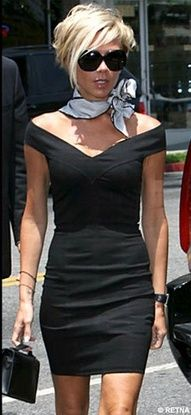 Victoria Beckham...Used to wear my scarves like this when I had this haircut :)                                                                                                                                                                                 More