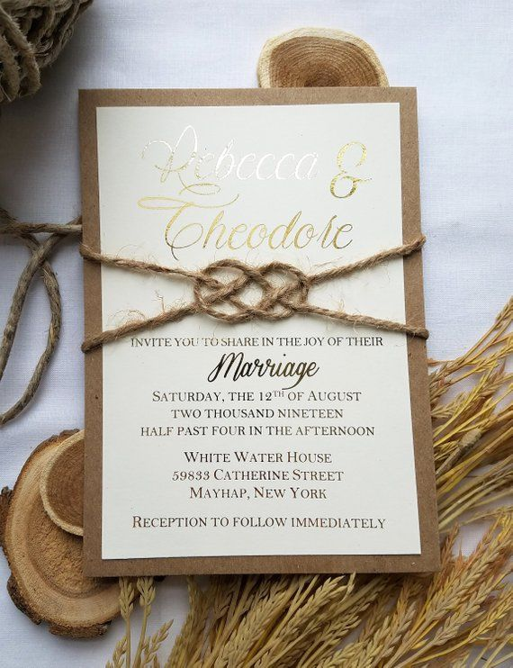 Rustic Gold Wedding Invitation And Twine Knot Rustic Rose Gold Rustic Rose Gold Wedding Gold Wedding Invitations Wedding Invitations Rustic