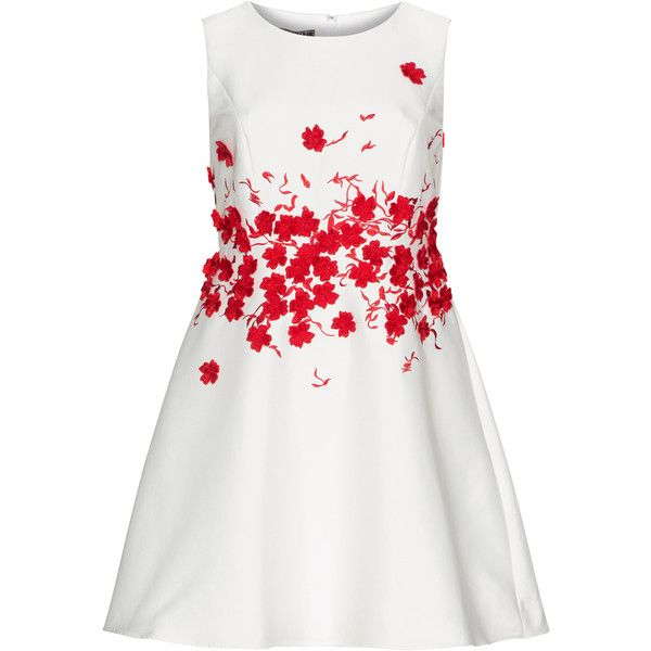 Apart Cream / Red Plus Size Appliqué prom style dress ($275) ❤ liked on Polyvore featuring dresses, cream, plus size, white a line dress, white sleeveless dress, white prom dresses, women plus size dresses and white cocktail dress