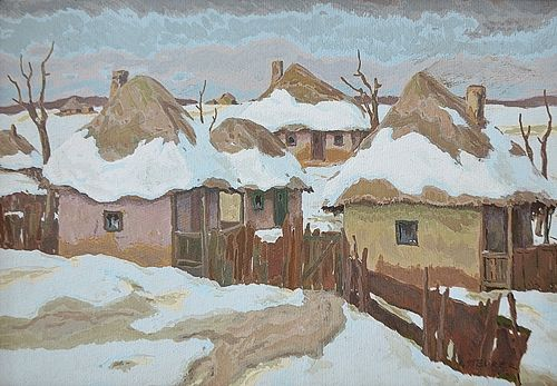 Iosif Steurer (1885-1978) Iarna în sat/ Winter in the village