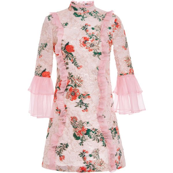 Vivetta Casauro Floral Brocade Mini Dress ($1,850) ❤ liked on Polyvore featuring dresses, multi, floral printed dress, pink floral print dress, short dresses, brocade dress and floral pattern dress