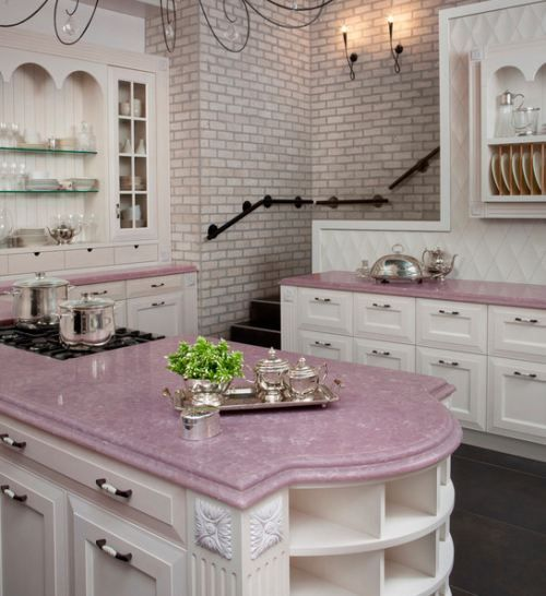 Girl Cave - awesome looking kitchen! Not that I would EVER be allowed pink counters!