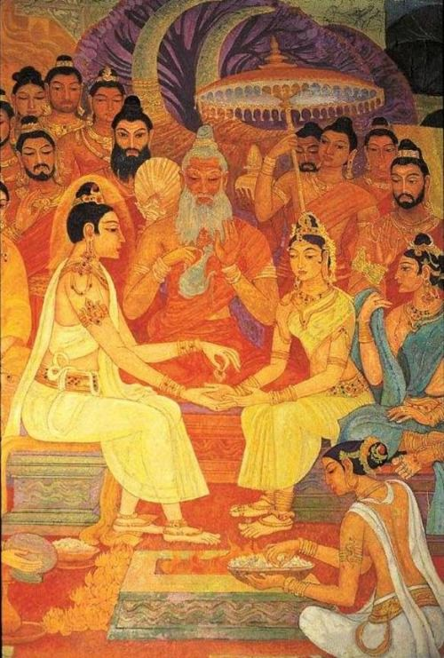 Siddartha gautamma and yashodara wedding bellanwila raja for Buddha mural art