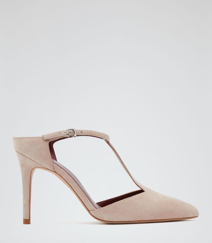 Womens Blush Suede T-bar Shoes - Reiss Loki