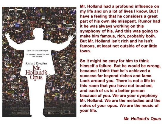 mr hollnds opus and teaching essay Mr holland's opus  pg   2h 23min  glenn holland is a musician and composer who takes a teaching job to pay the rent while, in his 'spare time',.