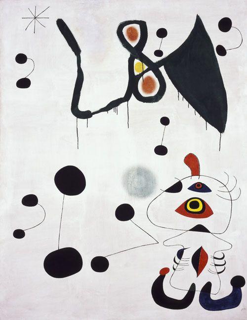 Joan Miro - Surrealism & Abstraction - Femme et oiseau dans la nuit 1944