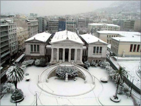 central Athens covered in snow