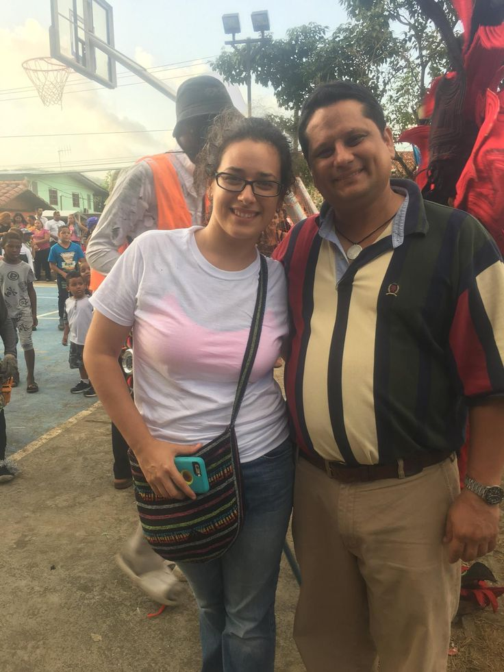 With Marguerite L. Looney (PhD student of the Department of Archaeology at the University of Stanford), in Carnival closing with traditions of Congo in Portobelo - Costa Arriba, Panama