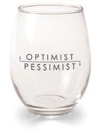 Optimist / Pessimst Wine Glasses \\