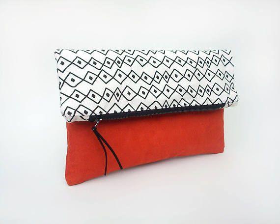 Boho bag, Fold over clutch bag, Summer handbag, Orange faux leather bag, Pochette, Bohemian foldover bag, Tribal fabric bag, Vibrant color