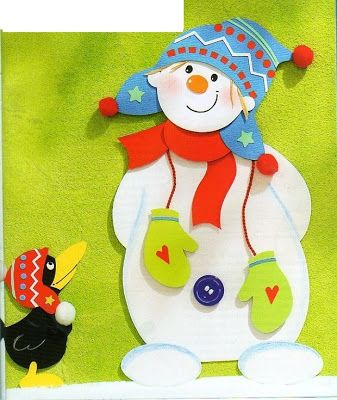 snowman with a crow - paper craft pattern 1.