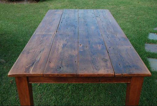 A less hearty reclaimed barn wood table - a smaller version could be a great kitchen table.