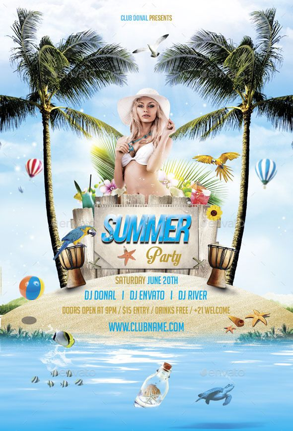Summer Party Flyer Template #design Download: graphicriver.net/...