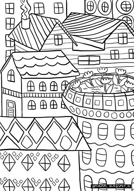 OPTIMIMMI | A free coloring page of houses / Ilmainen värityskuva taloista