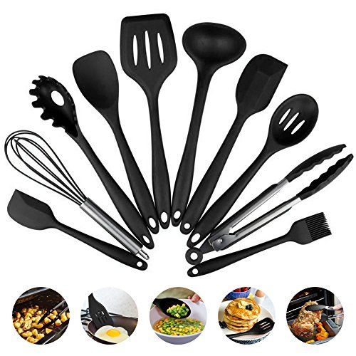 Heat-Resistant Silicone Kitchen Utensils Non-Stick Pan Baking Health Safe And Healthy Solid Coating Suit(10 pieces) (Black)  ❤<B>Silicone Kitchenware Series: </B>for the family to provide a wide range of kitchen accessories, suitable for all kinds of food cooking, mixing, baking.  ❤<B>Heat Resistant, Cold Resistant:</B>suitable for low temperature -40, high temperature +230, both for frozen food, but also can use the microwave oven, not like the old plastic kitchen appliances or bamboo...