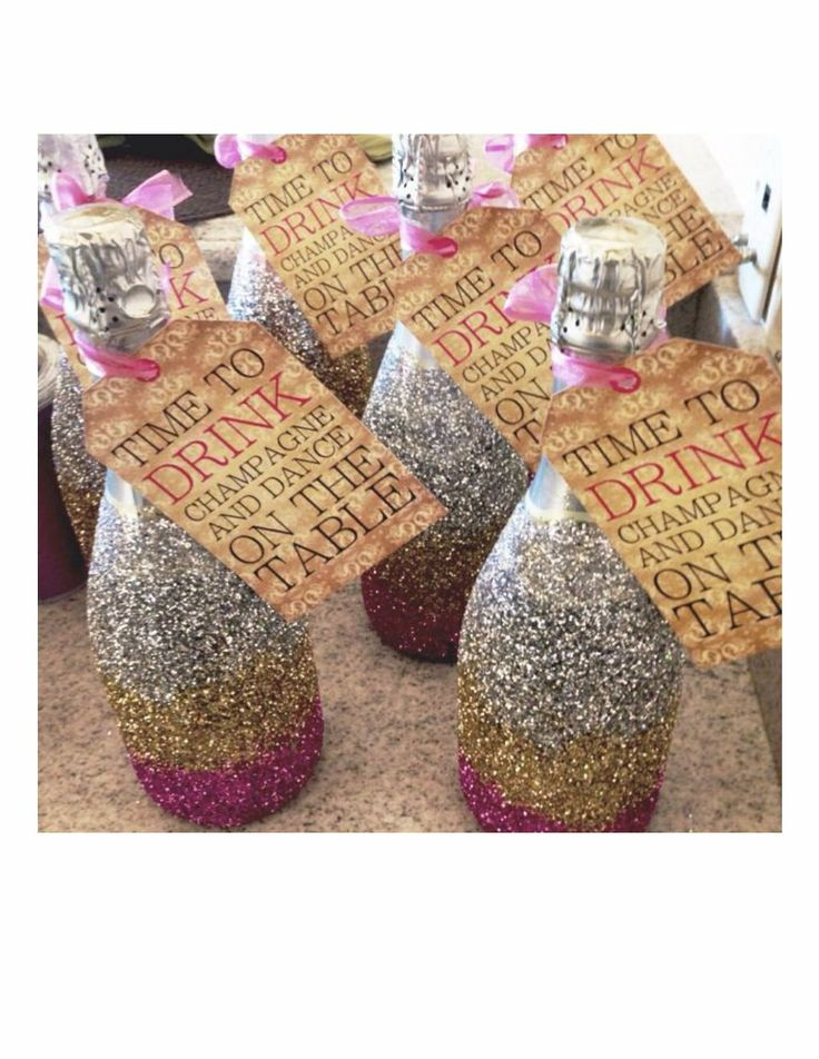 Glitter champagne bottles that special touch events for How to make glitter wine bottles