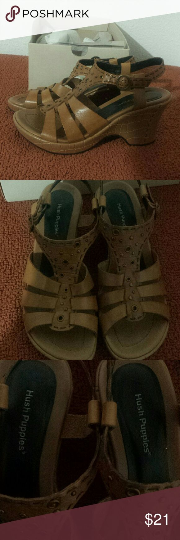 """Hush Puppies Segovia women's size 7 new with box 3"""" heels leather made in brazil Hush Puppies Shoes Sandals"""