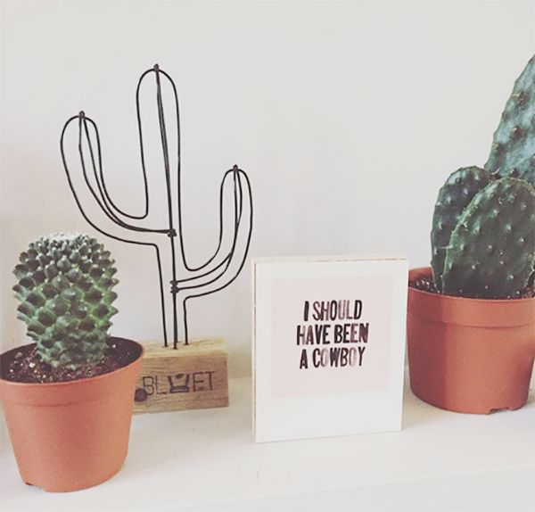 Draad cactus Hippe draad cactus, leuk in elk interieur en gemakkelijk in onderhoud!      Kleur: zwart metaal icm stijgerhout     Hoogte: 31 cm     Merk: Bluft-interieur -