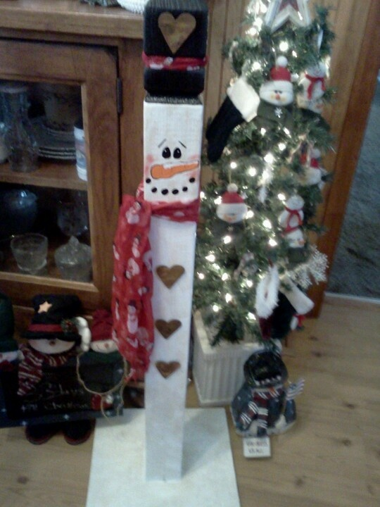 Snowman made out of old fence post | crafts | Pinterest ...