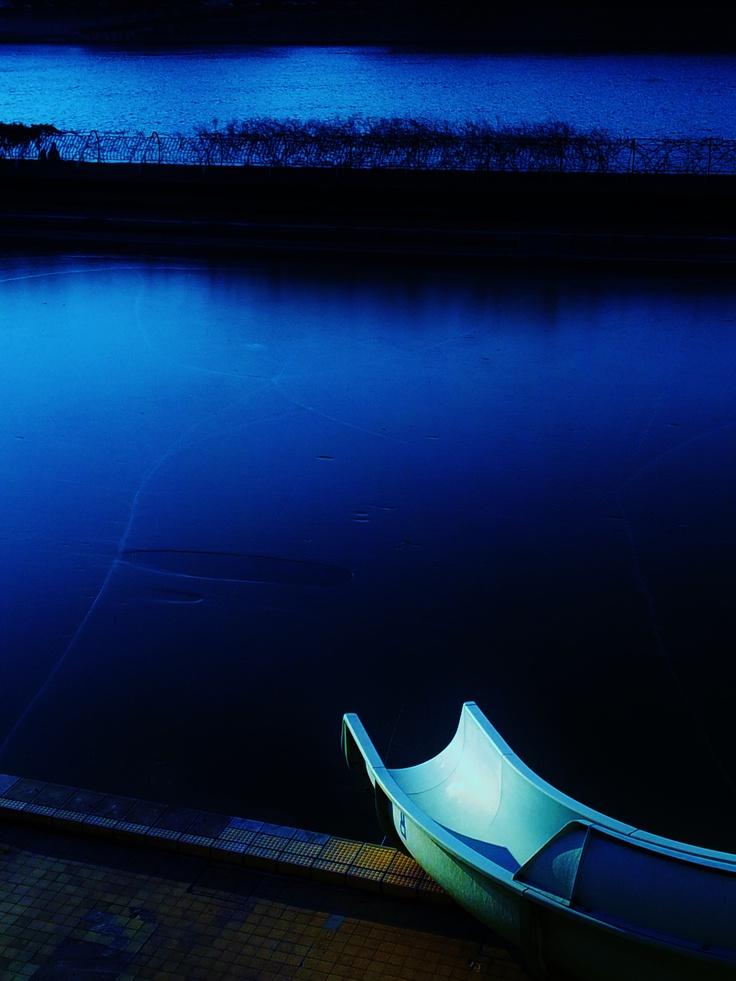 Alone in blue...