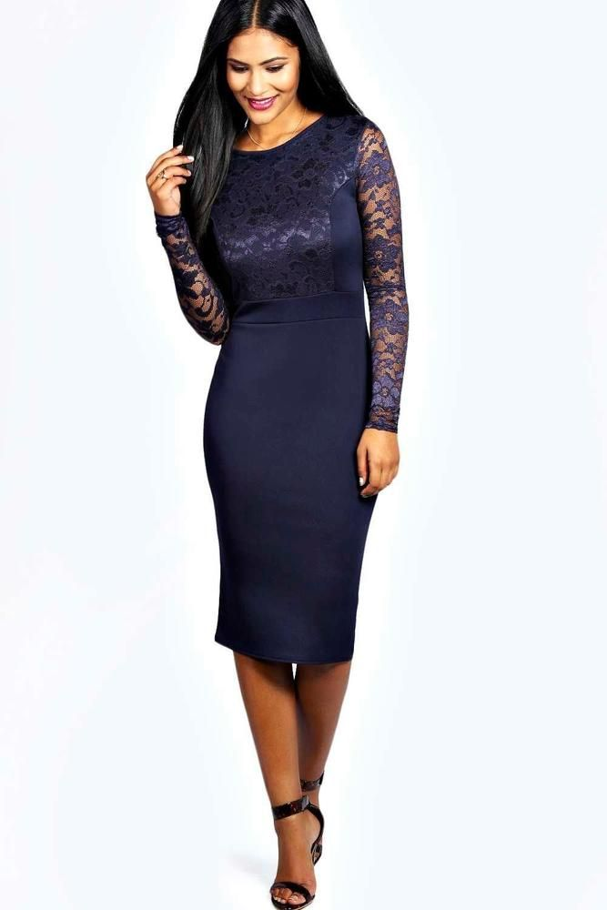 Boohoo Lace Long Sleeve Bodycon Midi Dress Navy Size UK 12 rrp 20 DH181 CC  07  fashion  clothing  shoes  accessories  womensclothing  dresses (ebay  link) ad938e004362